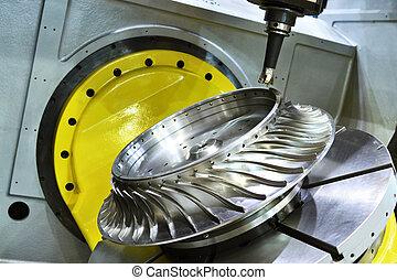 カッター, 切断, cnc, うろつく, 製粉所, process., metalwork, 機械化