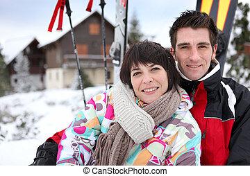 カップルは休暇をとる, スキー