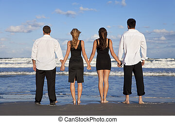 カップル, 人々, 若い, 2, 4, 手を持つ, 浜