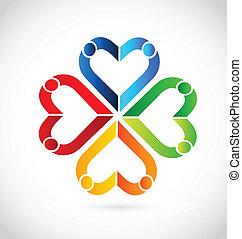カップル, 心, チームワーク, ロゴ