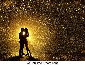 カップル, 接吻, シルエット, 若い, 接吻, デートする, 落ちる, 愛, 恋人, s, 輪郭, バレンタイン