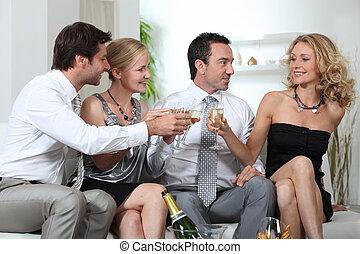 カップル, 祝う, シャンペン, 2