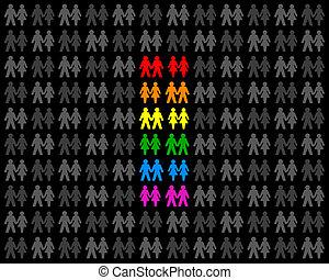 カップル, 虹, 旗, 同性愛