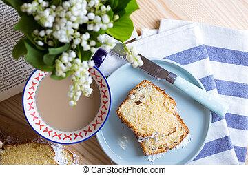 カップ, お茶, ケーキ, オランダ語