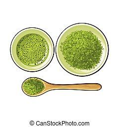 カップ, お茶, ボール, スプーン, 粉, 緑, matcha, 竹