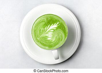 カップ, お茶, 上に, latte, 緑, matcha, 白