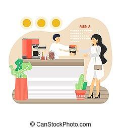 カップ, イラスト, 女, コーヒー, eco, 所有するため, 彼女, 味方, 再使用可能, 平ら, ベクトル, 店...