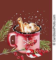 カップ, クリスマスの 休日, 装飾, コーヒー, キャンデー