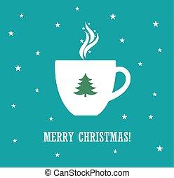 カップ, クリスマス, コーヒー, 背景, 青