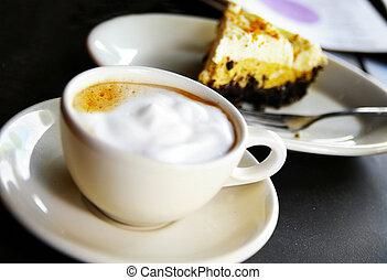 カップ, コーヒー, パイ, チョコレート, 泡だらけ, クリーム