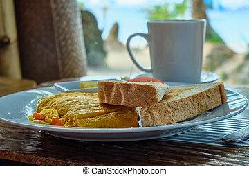 カップ, コーヒー, フィリピン, 島, 砂, dish., boracay, オムレツ, 光景, 朝食, 浜, sea., 白