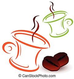 カップ, コーヒー, ベクトル, 豆, イラスト