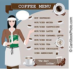 カップ, コーヒー, 女の子, メニュー