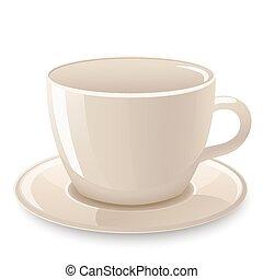 カップ, チャコーヒーノキ, 隔離された, 白, アイコン