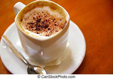 カップ, チョコレート, カプチーノ, 振りかける, コーヒー