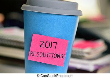 カップ, テキスト, 付せん, 2017, resolutions