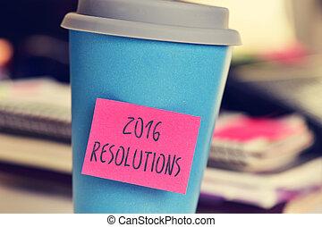 カップ, テキスト, 付せん, resolutions, 2016