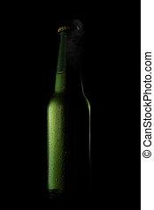 カップ, ビール, 黒, びん, 緑, 低下, 開いた