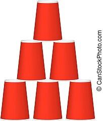 カップ, ピラミッド, デザイン, 赤