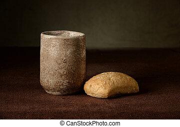 カップ, ワイン, bread