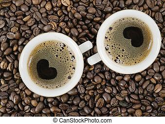 カップ, 上, コーヒー, 穀粒, ∥競う∥