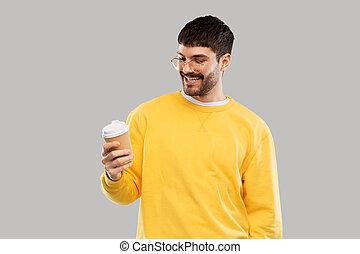 カップ, 人, テークアウト, 若い, 微笑, コーヒー
