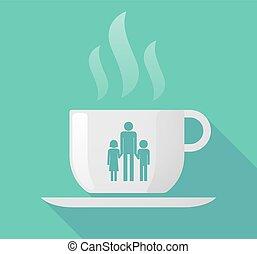 カップ, 単一 親 家族, 長い間, コーヒー, pictogram, 影, マレ