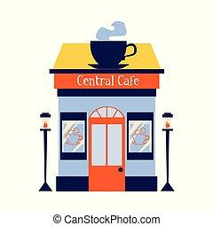 カップ, 大きい, 店, ベクトル, 平ら, イラスト, カフェ, isolated., ファサド, ∥あるいは∥, コーヒー, 印