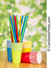 カップ, 抽象的, 使い捨て可能, 明るい, わら, ペーパー, green.