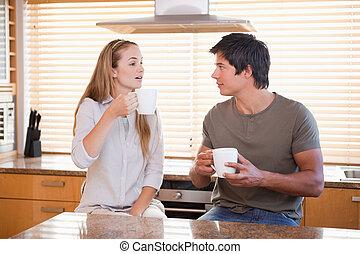 カップ, 持つこと, 恋人, お茶