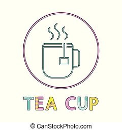 カップ, 湯気をたてる, お茶, lineout, 熱い 飲料, アイコン
