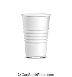 カップ, 隔離された, イラスト, プラスチック, ベクトル, 白