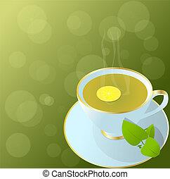 カップ, tea., 緑