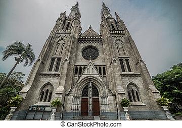 カトリック教, インドネシア, ジャカルタ, 外面, 教会, 大聖堂, 光景