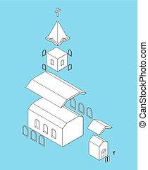 カトリック教, キリスト教徒, 家, religion., 部分, イラスト, ベクトル, 教会, isometrics, 構造