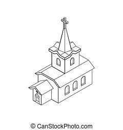 カトリック教, スタイル, キリスト教徒, 線である, 家, religion., イラスト, ベクトル, 教会, isometrics