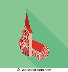 カトリック教, セット, stock., シンボル。, イラスト, ベクトル, 教会, 建設, アイコン