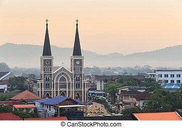 カトリック教, タイ, chanthaburi, 教会, の間, 州, 日の出