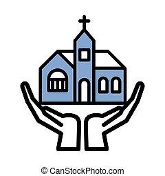 カトリック教, ファサド, アイコン, 建物, 教会