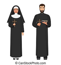 カトリック教, ベクトル, 司祭, 交差点, 修道女, rood., 保有物