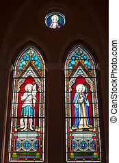 カトリック教, ペイントされた,  chanth, 聖者, ローマ人, 教会, ガラス