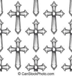 カトリック教, 十字, seamless, 型, パターン