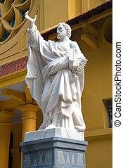 カトリック教, 古い, 使徒, ハノイ, ベトナム, church., ピーター, 彫刻