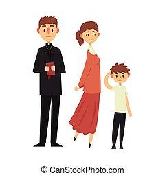 カトリック教, 司祭, キリスト教徒, 家族, 人々, 衣服, イラスト, 伝統的である, 宗教, ベクトル
