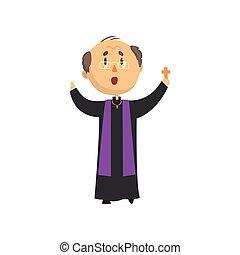 カトリック教, 司祭, 神聖, 人々, 特徴, 祝福, 父, 説教師, イラスト, 交差点, ベクトル, 漫画