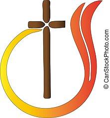 カトリック教, 抽象的, 交差点, 宗教, ベクトル, 炎, ロゴ, シンボル