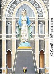 カトリック教, 新しい, ローマ人, thailand., 像, 教会, mary