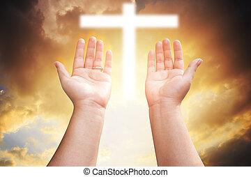 カトリック教, 概念, キリスト教徒, worship., 神, 手, eucharist, 心, の上, repent, pray., 助力, バックグラウンド。, やし, 人間, 貸された, 療法, 祝福しなさい, 開いた, イースター