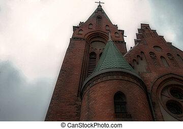 カトリック教, 空, 交差点, 背景, 教会