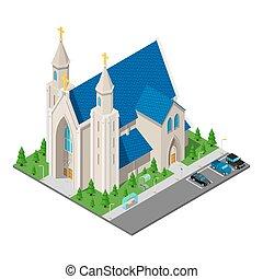 カトリック教, 等大, キリスト教徒, イラスト, ベクトル, 教会, 建物。